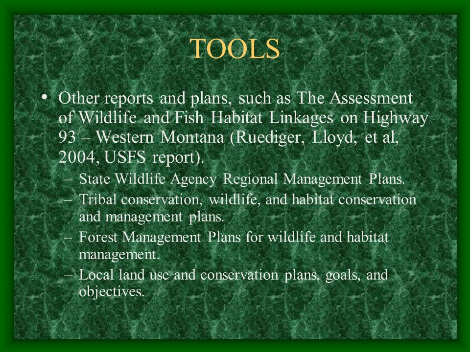 TOOLS Other reports and plans, such as The Assessment of Wildlife and Fish Habitat Linkages on Highway 93 – Western Montana (Ruediger, Lloyd, et al, 2004, USFS report).