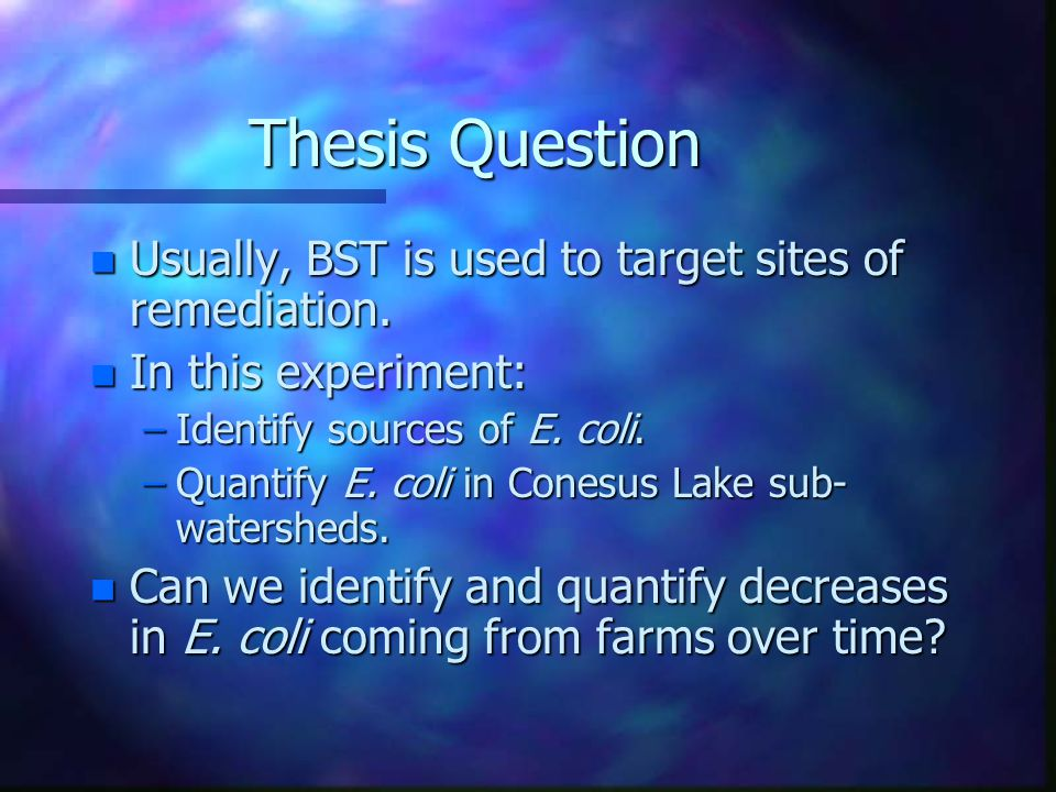 Thesis Question n Usually, BST is used to target sites of remediation.