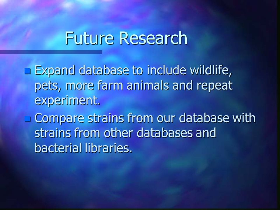 Future Research n Expand database to include wildlife, pets, more farm animals and repeat experiment.