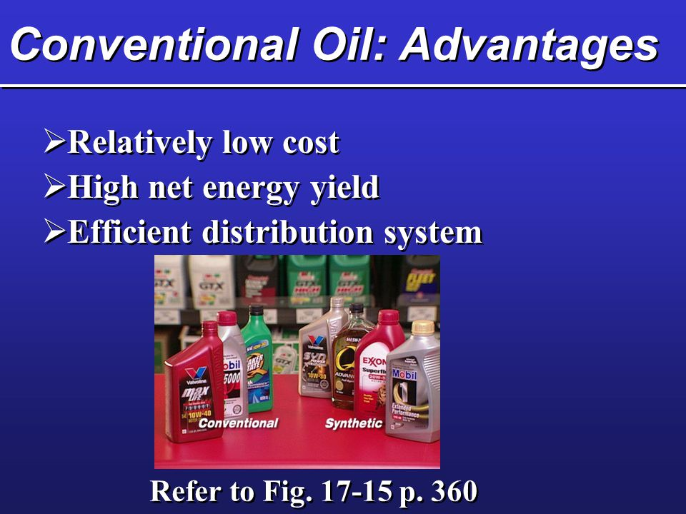 Conventional Oil: Advantages  Relatively low cost  High net energy yield  Efficient distribution system  Relatively low cost  High net energy yield  Efficient distribution system Refer to Fig.