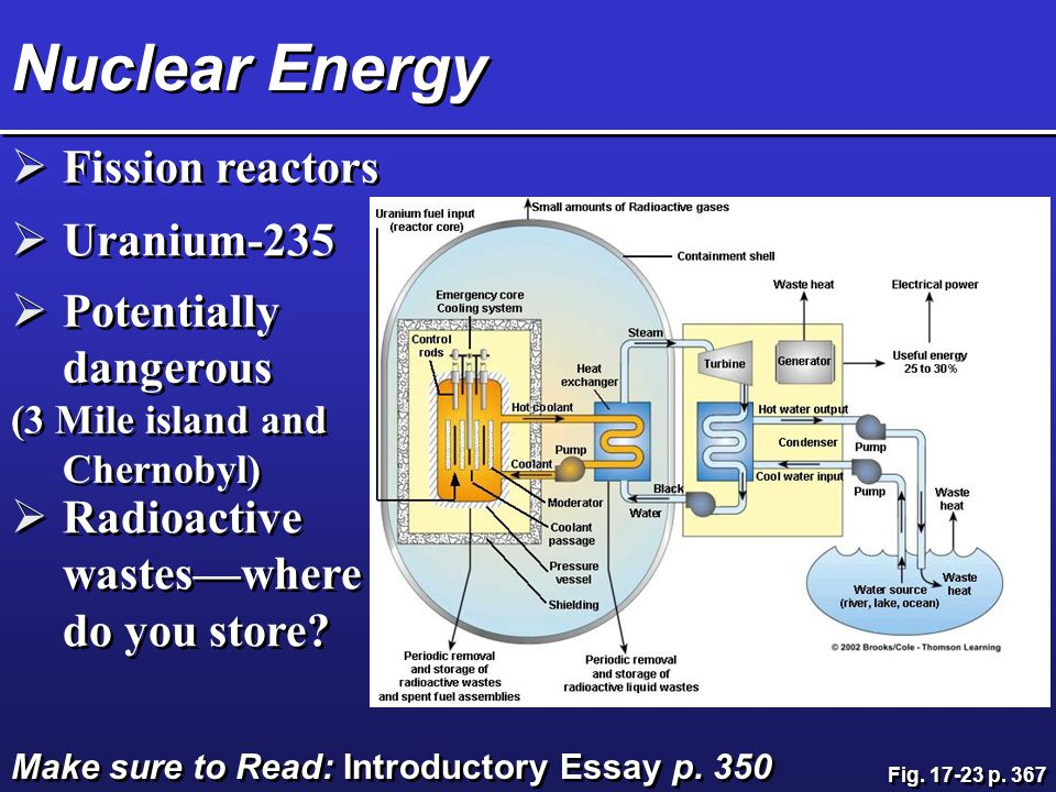 Nuclear Energy  Fission reactors  Uranium-235  Potentially dangerous (3 Mile island and Chernobyl)  Potentially dangerous (3 Mile island and Chernobyl)  Radioactive wastes—where do you store.