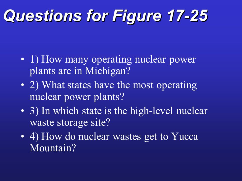 Questions for Figure 17-25 1) How many operating nuclear power plants are in Michigan.