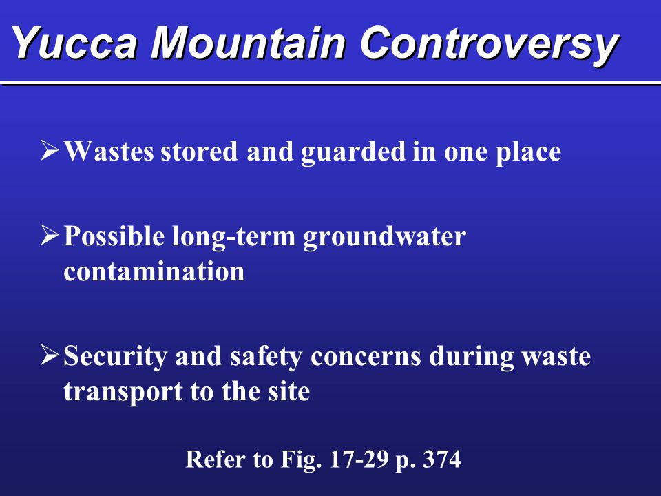 Yucca Mountain Controversy  Wastes stored and guarded in one place  Possible long-term groundwater contamination  Security and safety concerns during waste transport to the site Refer to Fig.