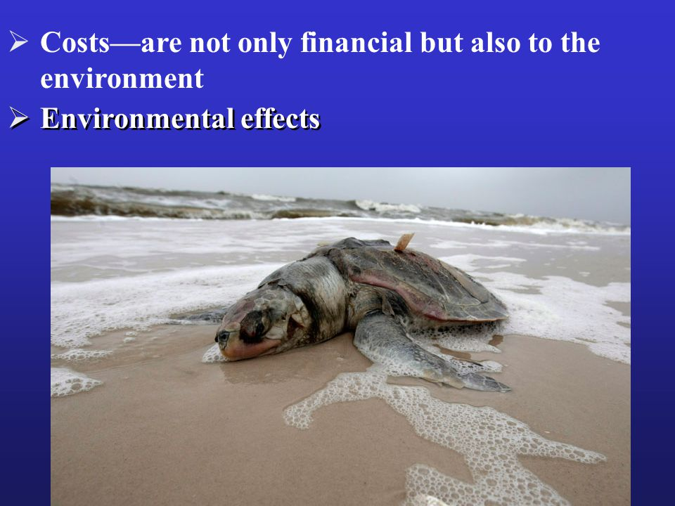  Environmental effects  Costs—are not only financial but also to the environment