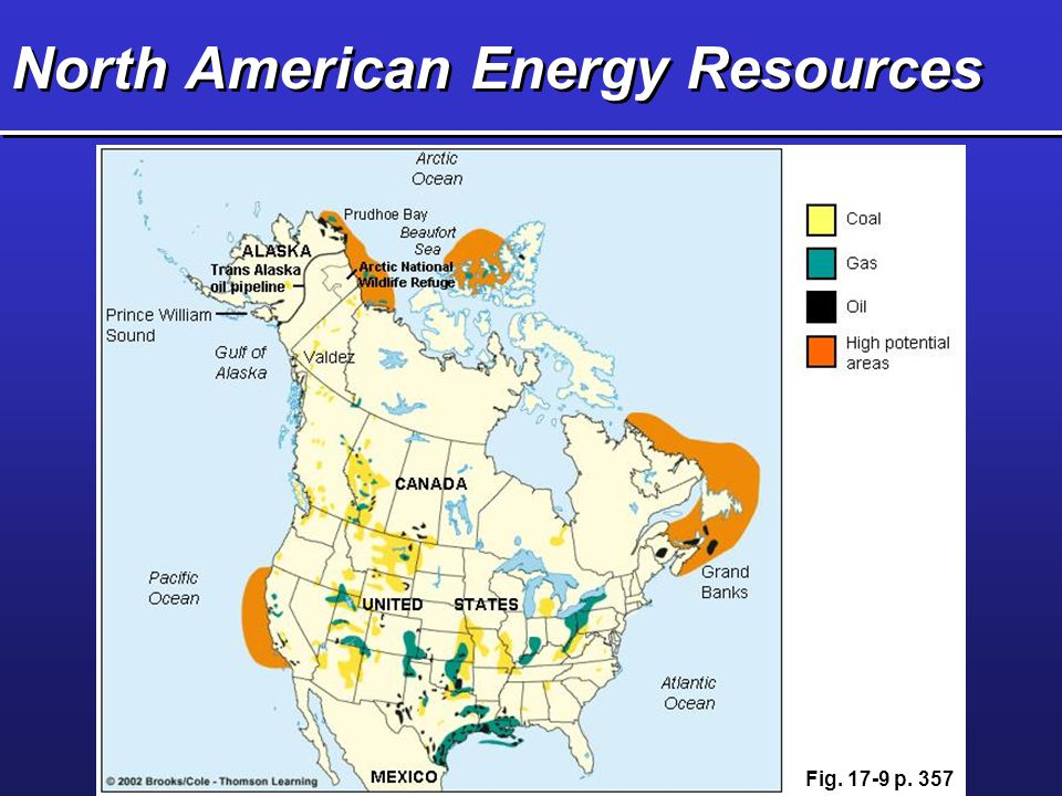 Questions for Figure 17-9 pg 357 What type of fossil fuel is found in Michigan according to Figure 17-9.