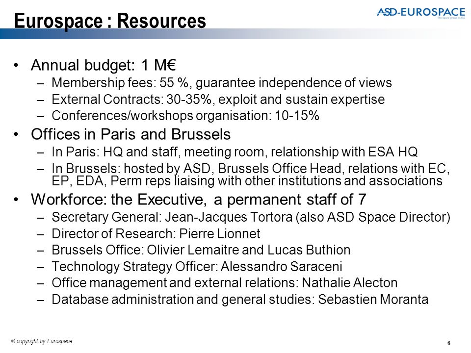 6 © copyright by Eurospace Eurospace : Resources Annual budget: 1 M€ –Membership fees: 55 %, guarantee independence of views –External Contracts: 30-35%, exploit and sustain expertise –Conferences/workshops organisation: 10-15% Offices in Paris and Brussels –In Paris: HQ and staff, meeting room, relationship with ESA HQ –In Brussels: hosted by ASD, Brussels Office Head, relations with EC, EP, EDA, Perm reps liaising with other institutions and associations Workforce: the Executive, a permanent staff of 7 –Secretary General: Jean-Jacques Tortora (also ASD Space Director) –Director of Research: Pierre Lionnet –Brussels Office: Olivier Lemaitre and Lucas Buthion –Technology Strategy Officer: Alessandro Saraceni –Office management and external relations: Nathalie Alecton –Database administration and general studies: Sebastien Moranta