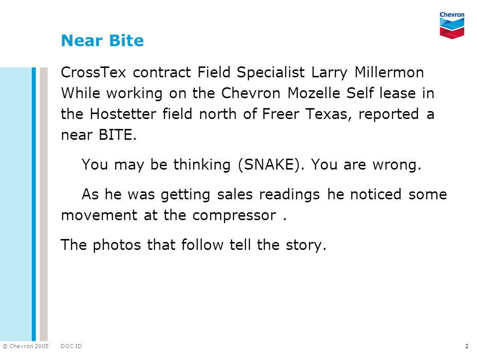 DOC ID © Chevron 2005 2 Near Bite CrossTex contract Field Specialist Larry Millermon While working on the Chevron Mozelle Self lease in the Hostetter field north of Freer Texas, reported a near BITE.