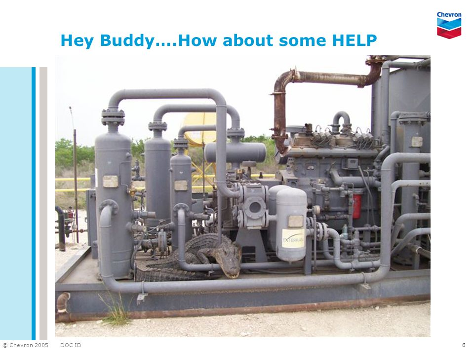 DOC ID © Chevron 2005 6 Hey Buddy….How about some HELP