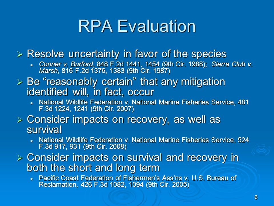 6 RPA Evaluation  Resolve uncertainty in favor of the species Conner v.