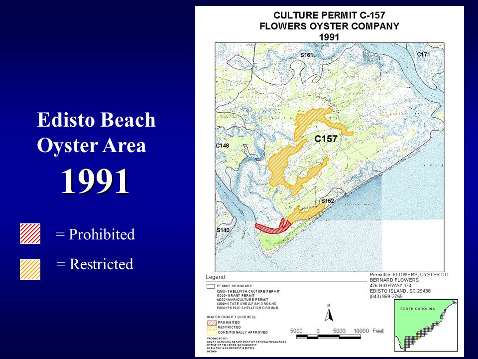 1991 = Prohibited = Restricted Edisto Beach Oyster Area