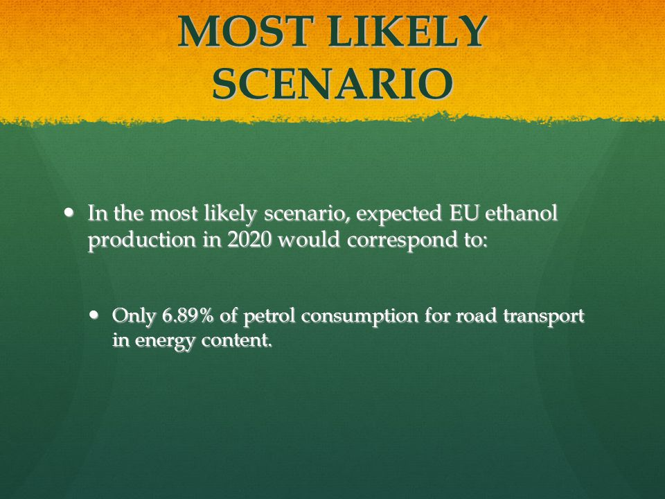 MOST LIKELY SCENARIO In the most likely scenario, expected EU ethanol production in 2020 would correspond to: In the most likely scenario, expected EU ethanol production in 2020 would correspond to: Only 6.89% of petrol consumption for road transport in energy content.