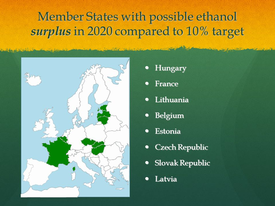 Member States with possible ethanol surplus in 2020 compared to 10% target Hungary Hungary France France Lithuania Lithuania Belgium Belgium Estonia Estonia Czech Republic Czech Republic Slovak Republic Slovak Republic Latvia Latvia