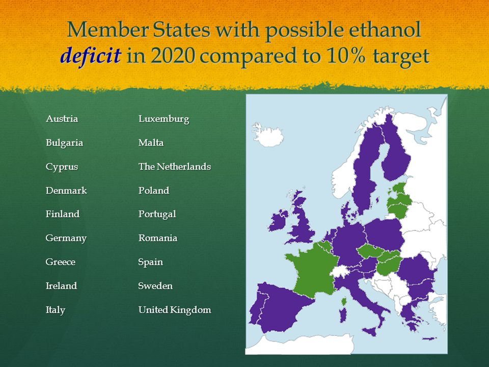 Member States with possible ethanol deficit in 2020 compared to 10% target AustriaBulgariaCyprusDenmarkFinlandGermanyGreeceIrelandItalyLuxemburgMalta The Netherlands PolandPortugalRomaniaSpainSweden United Kingdom