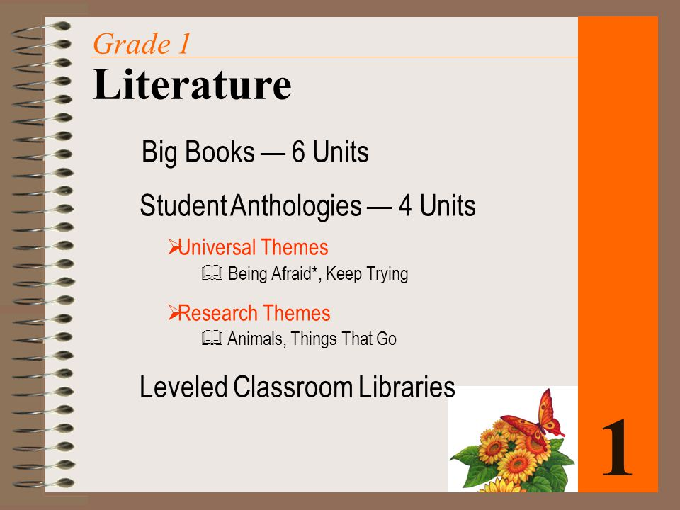 Big Books — 6 Units Student Anthologies — 4 Units  Universal Themes  Being Afraid*, Keep Trying  Research Themes  Animals, Things That Go Leveled