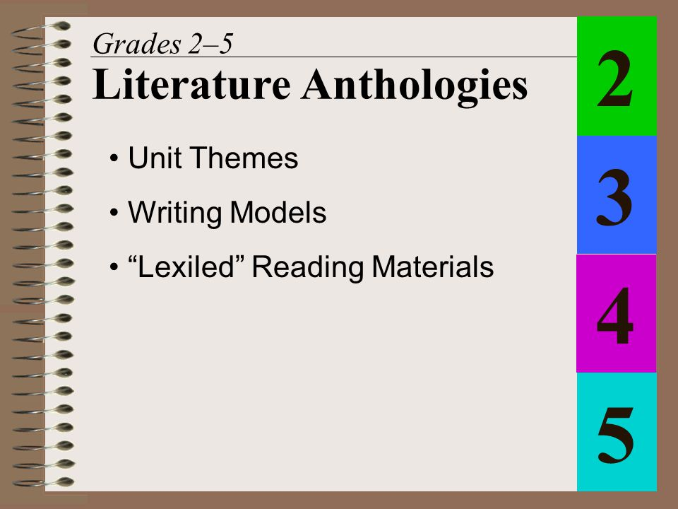 "Unit Themes Writing Models ""Lexiled"" Reading Materials 1 Literature Anthologies 2 3 4 5"