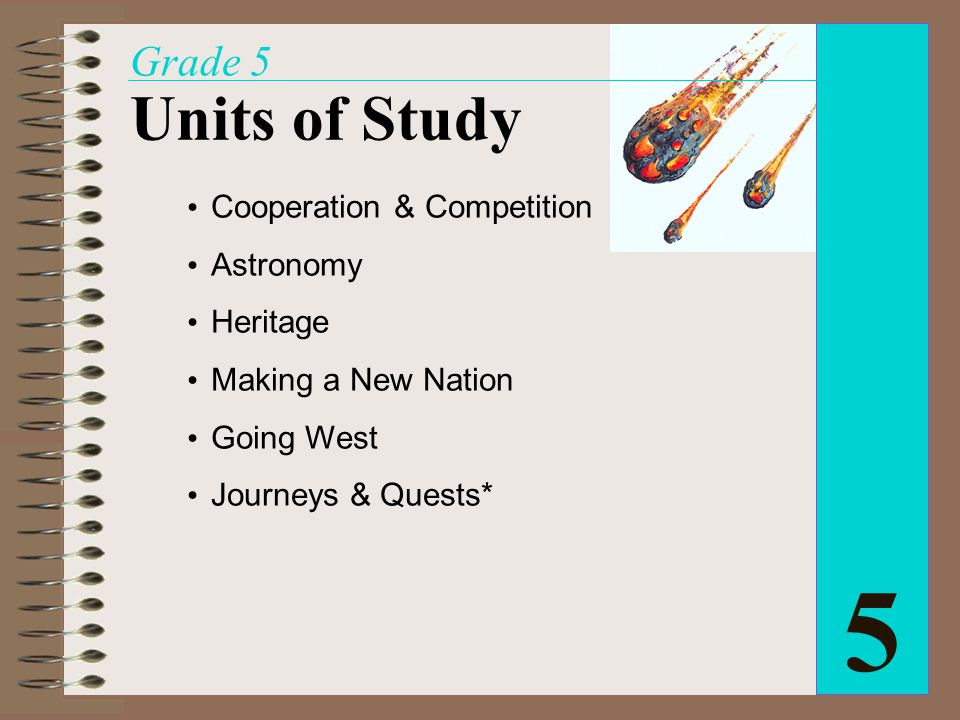 Cooperation & Competition Astronomy Heritage Making a New Nation Going West Journeys & Quests* 5 Grade 5 Units of Study