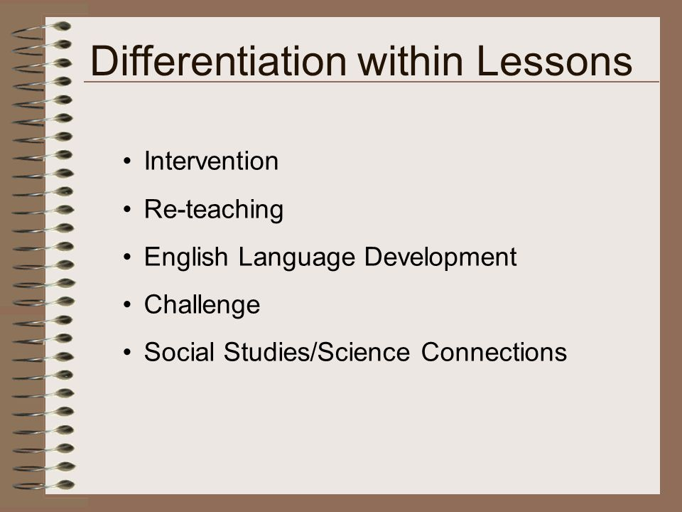 Intervention Re-teaching English Language Development Challenge Social Studies/Science Connections Differentiation within Lessons