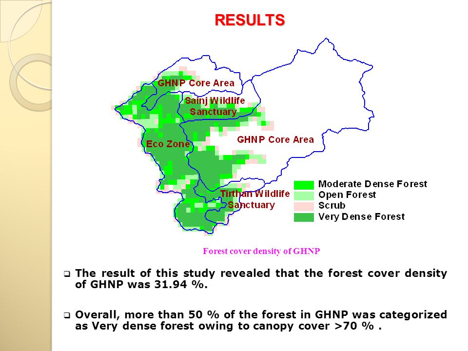  The result of this study revealed that the forest cover density of GHNP was 31.94 %.  Overall, more than 50 % of the forest in GHNP was categorized