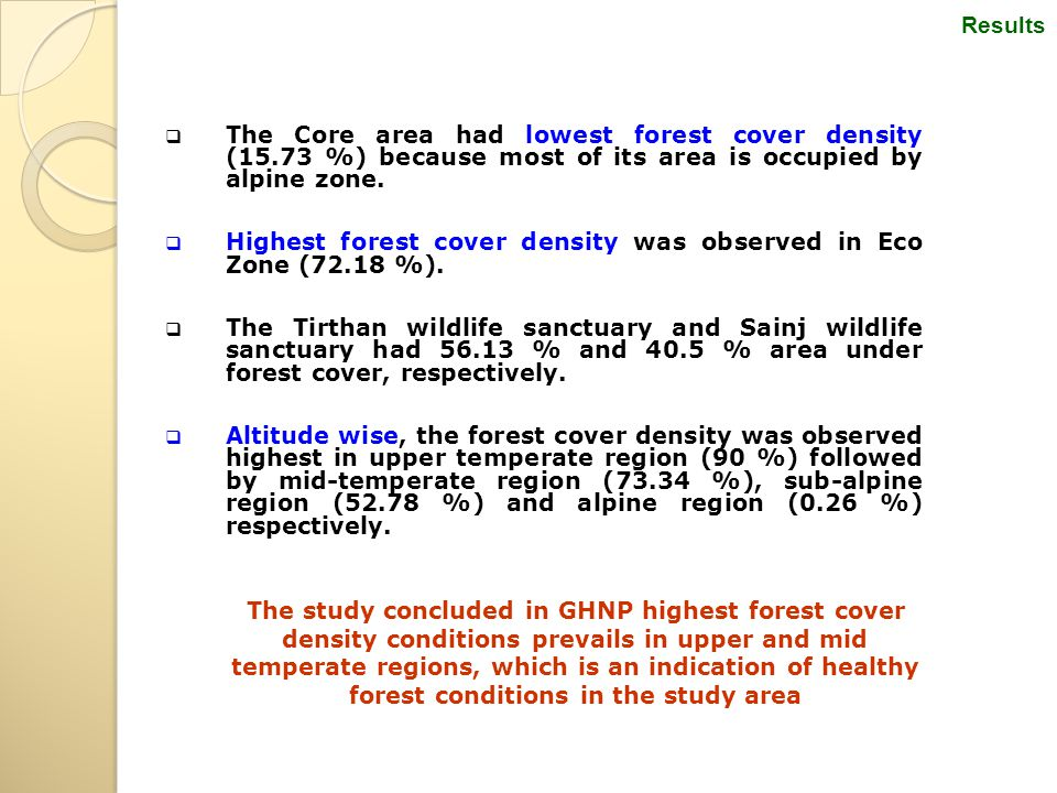  The Core area had lowest forest cover density (15.73 %) because most of its area is occupied by alpine zone.  Highest forest cover density was obse