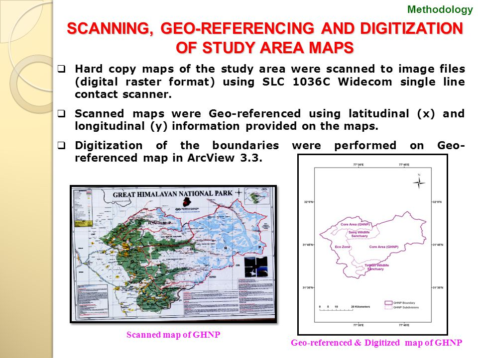 Scanned map of GHNP SCANNING, GEO-REFERENCING AND DIGITIZATION OF STUDY AREA MAPS  Hard copy maps of the study area were scanned to image files (digital raster format) using SLC 1036C Widecom single line contact scanner.