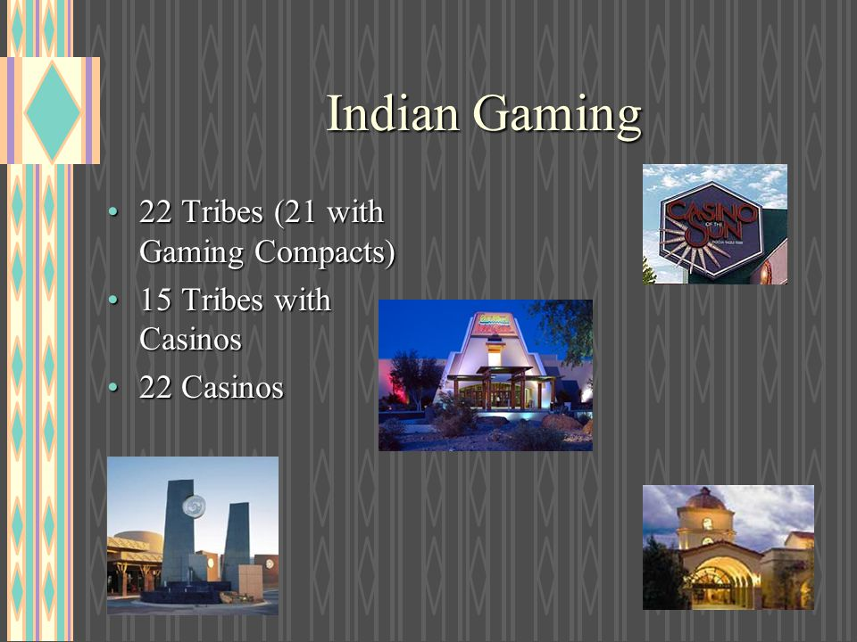 Indian Gaming 22 Tribes (21 with Gaming Compacts)22 Tribes (21 with Gaming Compacts) 15 Tribes with Casinos15 Tribes with Casinos 22 Casinos22 Casinos