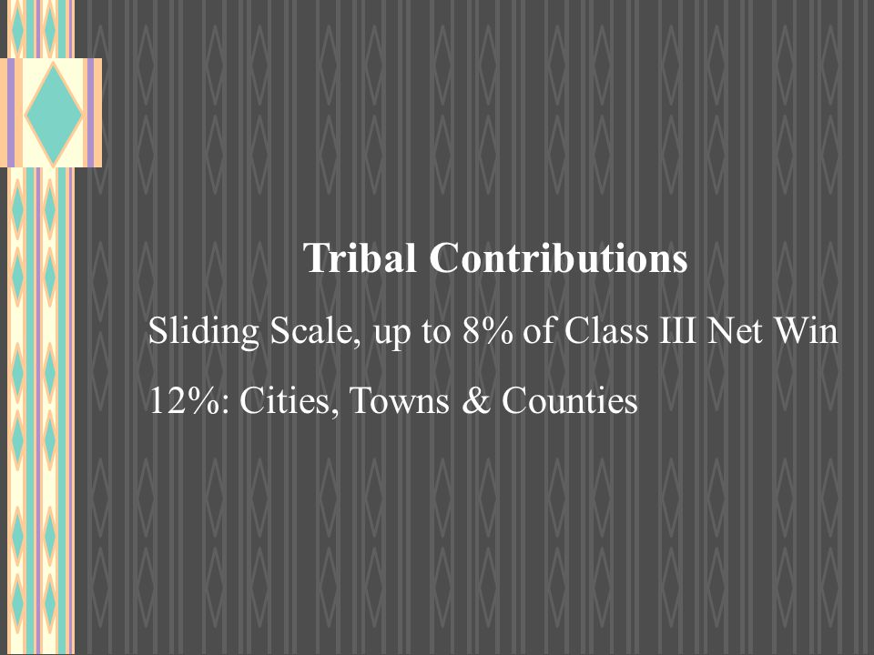 Tribal Contributions Sliding Scale, up to 8% of Class III Net Win 12%: Cities, Towns & Counties