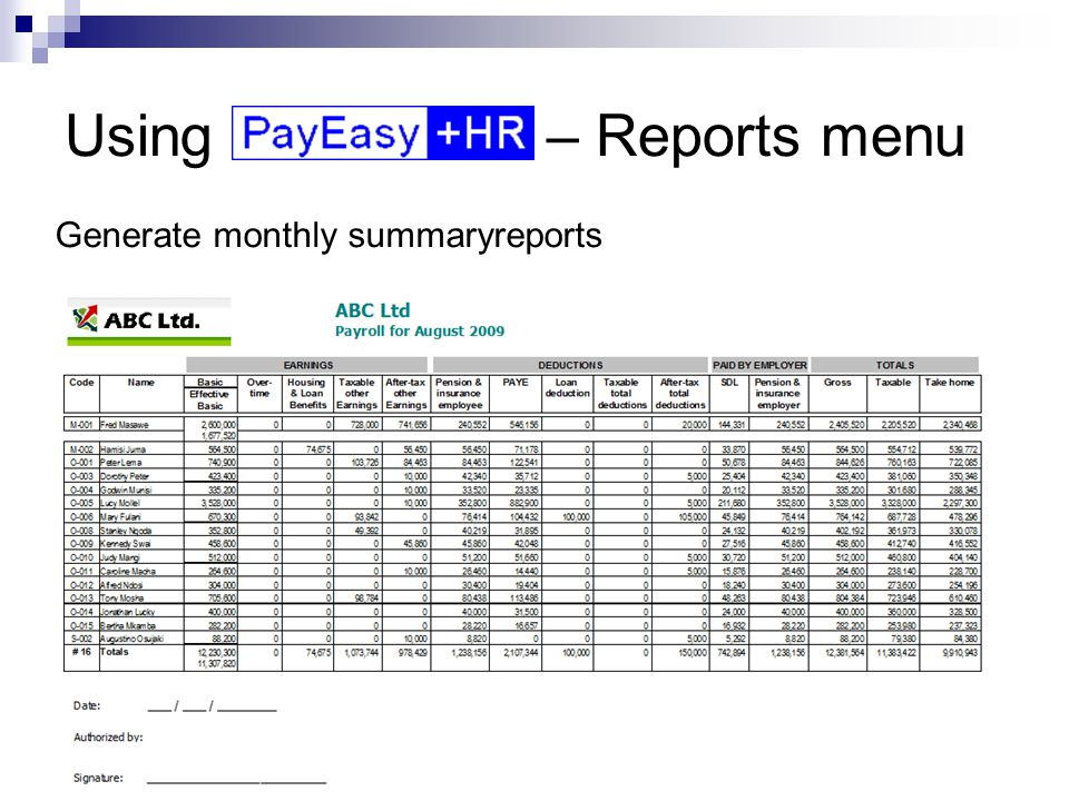 Using – Reports menu Generate monthly summaryreports