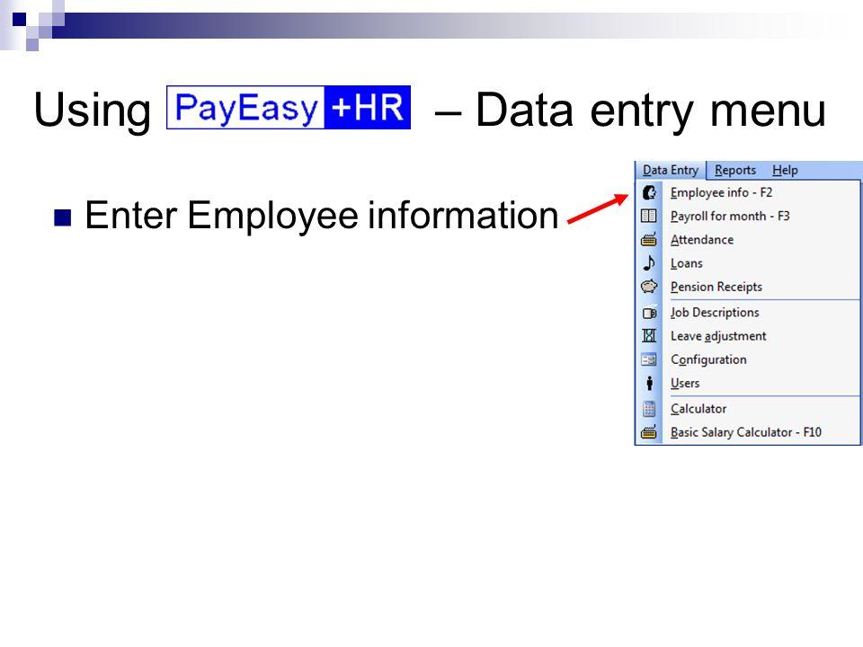 Using – Reports menu Produce cash salary lists