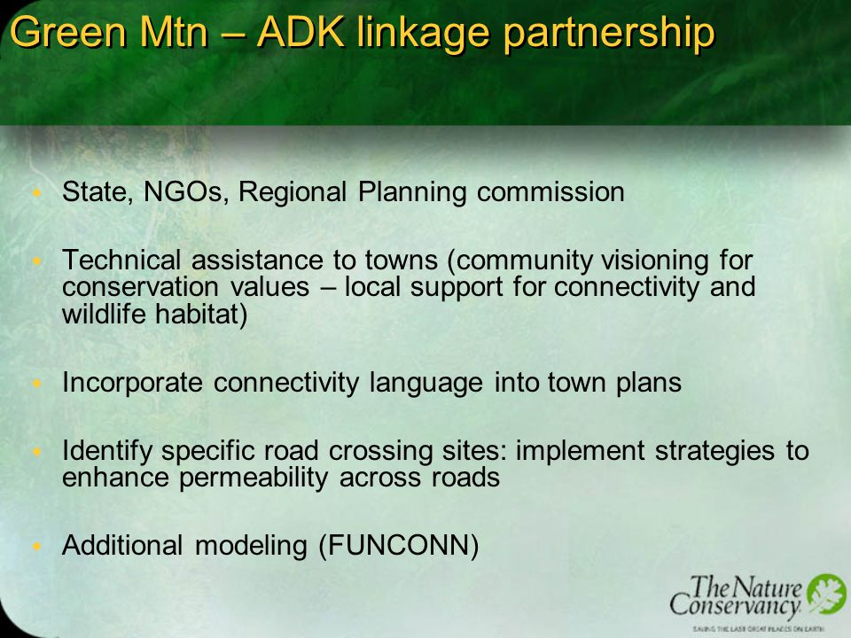 Green Mtn – ADK linkage partnership w State, NGOs, Regional Planning commission w Technical assistance to towns (community visioning for conservation values – local support for connectivity and wildlife habitat) w Incorporate connectivity language into town plans w Identify specific road crossing sites: implement strategies to enhance permeability across roads w Additional modeling (FUNCONN)