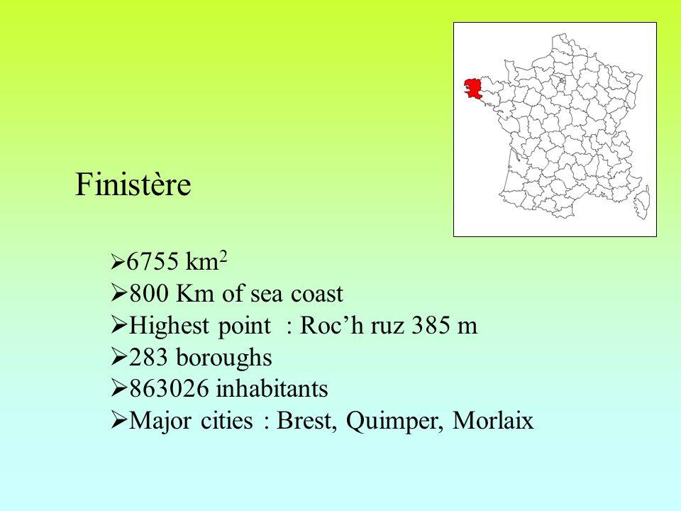 Finistère  6755 km 2  800 Km of sea coast  Highest point : Roc'h ruz 385 m  283 boroughs  863026 inhabitants  Major cities : Brest, Quimper, Morlaix