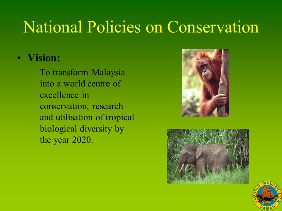 National Policies on Conservation Vision: –To transform Malaysia into a world centre of excellence in conservation, research and utilisation of tropic