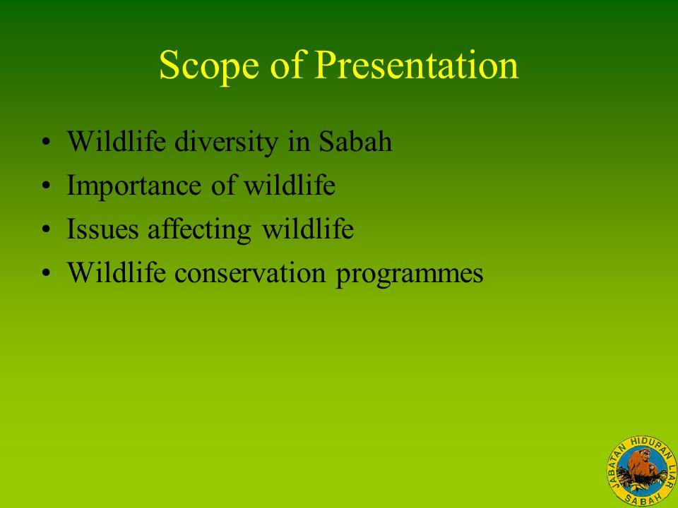 Scope of Presentation Wildlife diversity in Sabah Importance of wildlife Issues affecting wildlife Wildlife conservation programmes