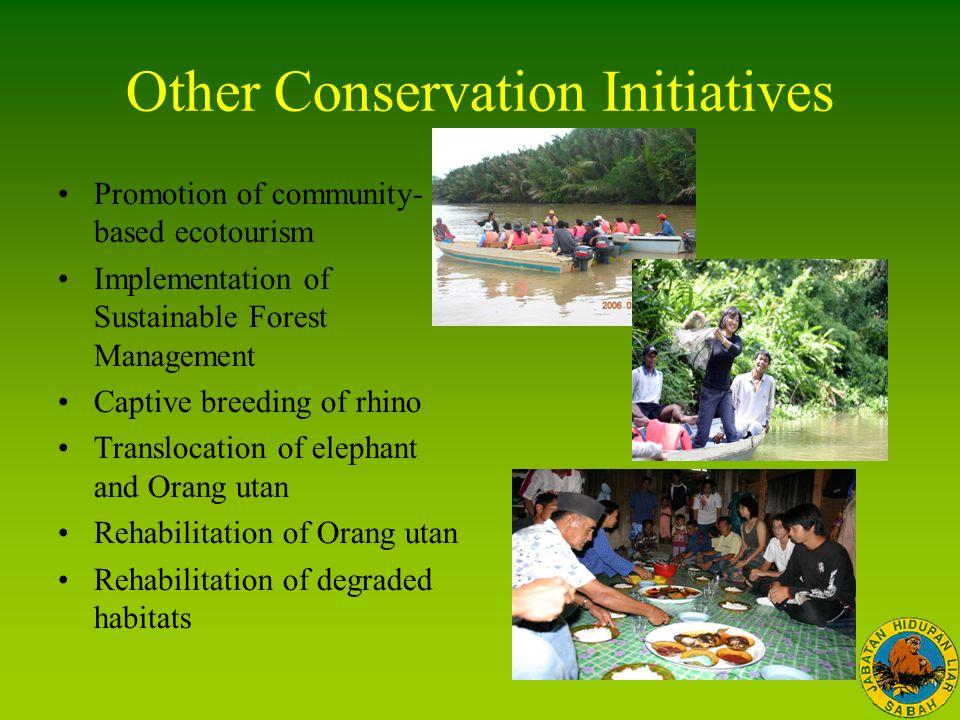 Other Conservation Initiatives Promotion of community- based ecotourism Implementation of Sustainable Forest Management Captive breeding of rhino Tran