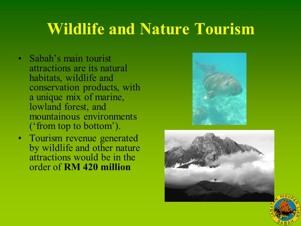 Wildlife and Nature Tourism Sabah's main tourist attractions are its natural habitats, wildlife and conservation products, with a unique mix of marine