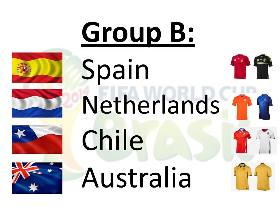 Group B: Spain Netherlands Chile Australia