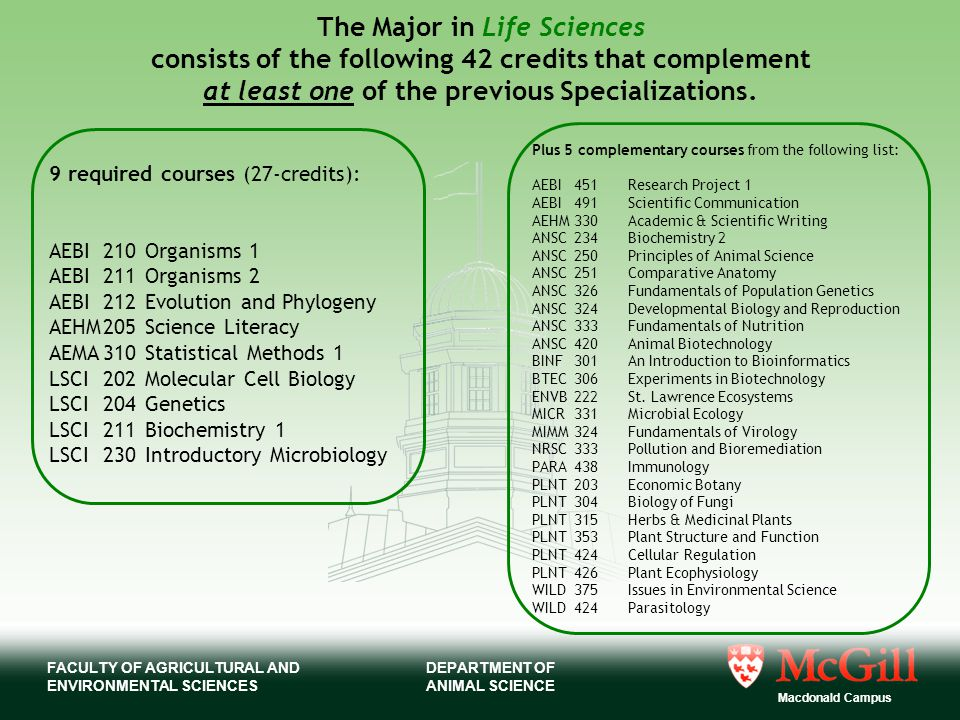 FACULTY OF AGRICULTURAL AND ENVIRONMENTAL SCIENCES Macdonald Campus DEPARTMENT OF ANIMAL SCIENCE The Major in Life Sciences consists of the following 42 credits that complement at least one of the previous Specializations.