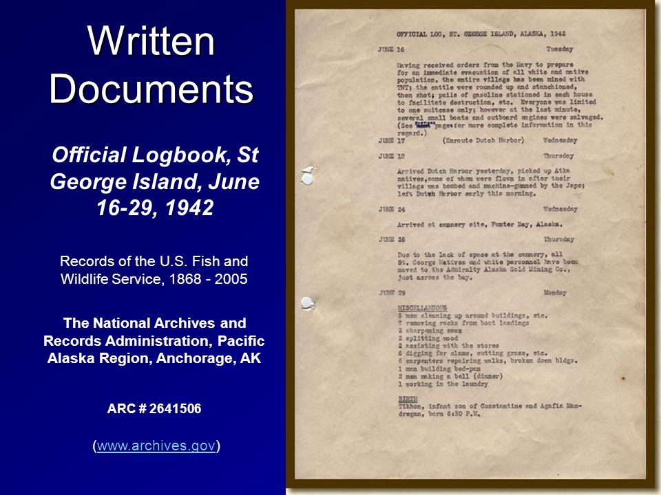 Written Documents Official Logbook, St George Island, June 16-29, 1942 Records of the U.S.