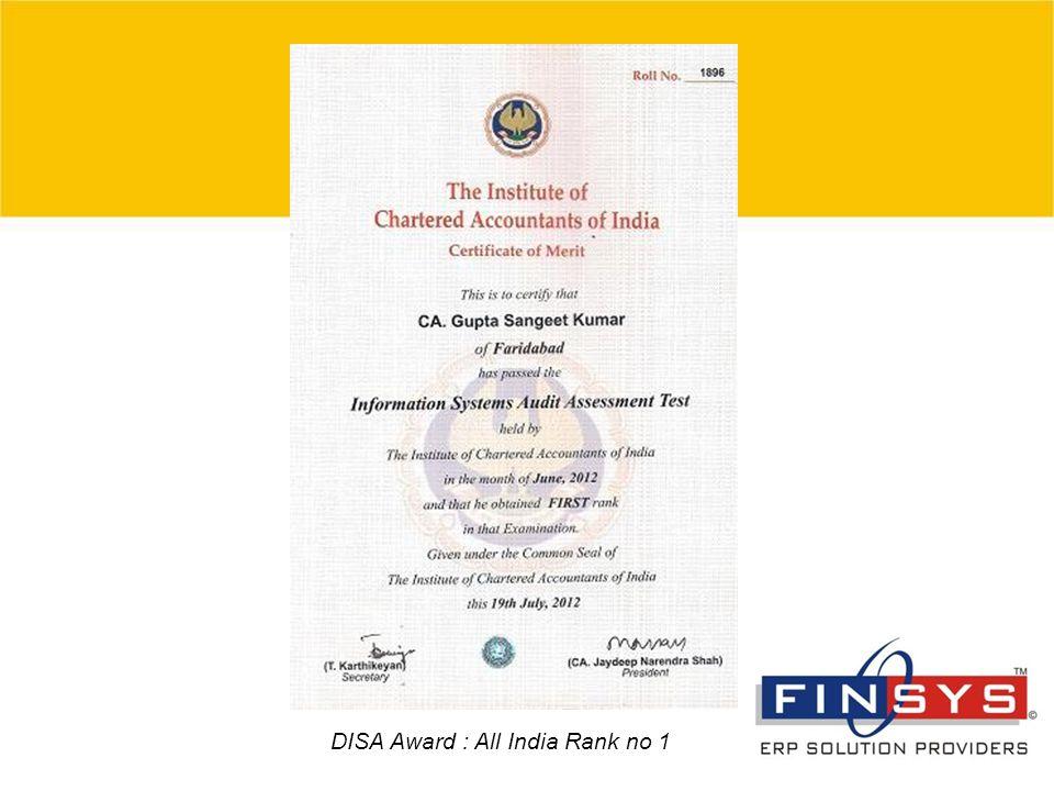 4 DISA Award : All India Rank no 1