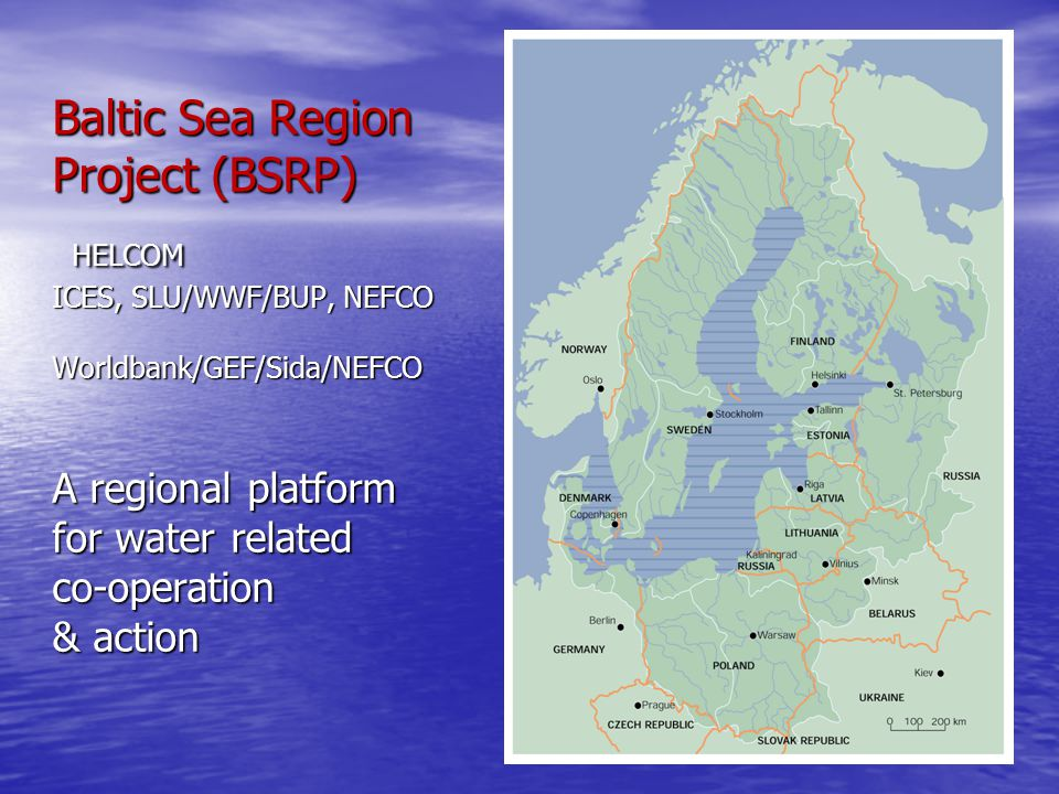 Baltic Sea Region Project (BSRP) HELCOM ICES, SLU/WWF/BUP, NEFCO Worldbank/GEF/Sida/NEFCO A regional platform for water related co-operation & action