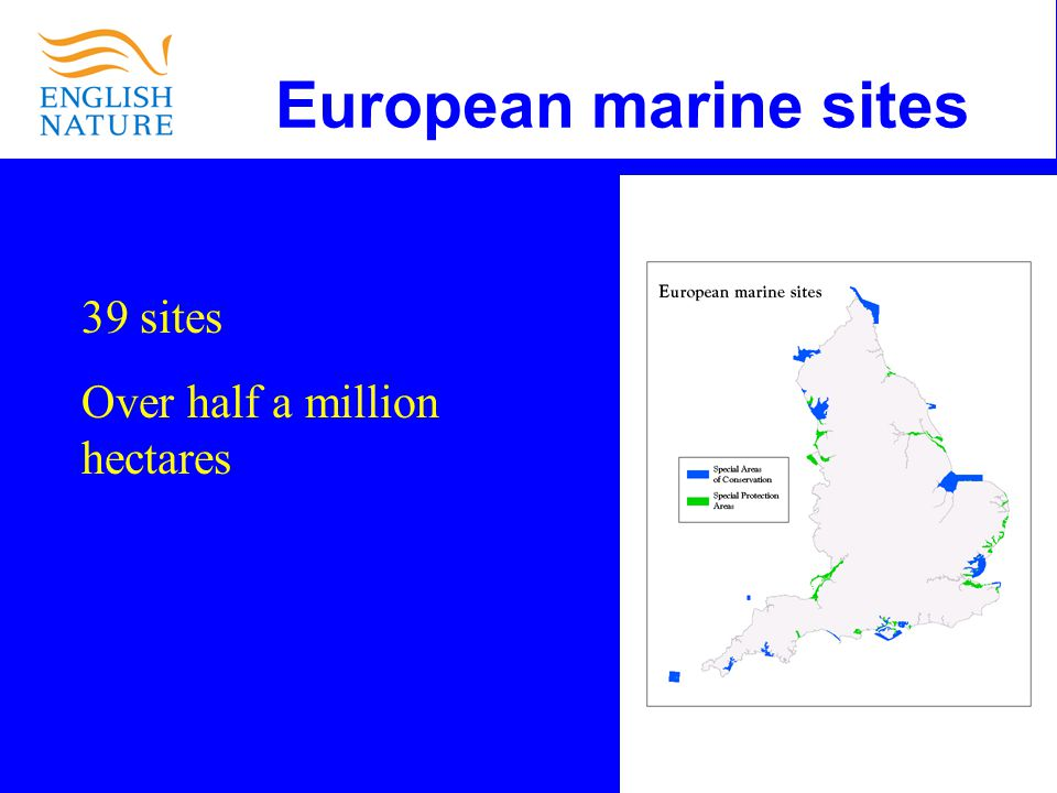 European marine sites 39 sites Over half a million hectares