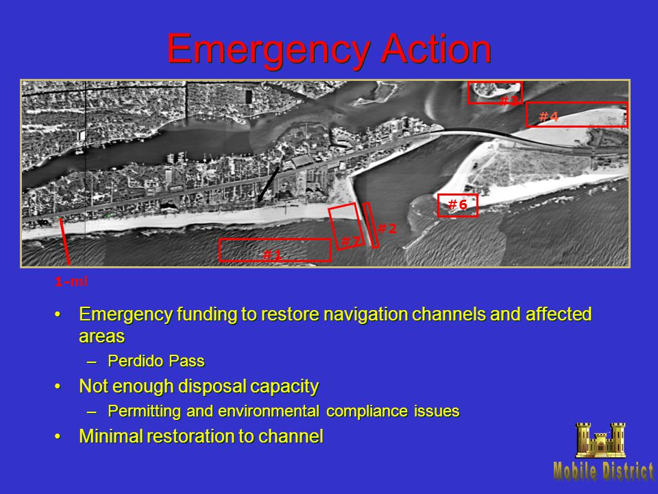 Emergency Action Emergency funding to restore navigation channels and affected areas –Perdido Pass Not enough disposal capacity –Permitting and enviro