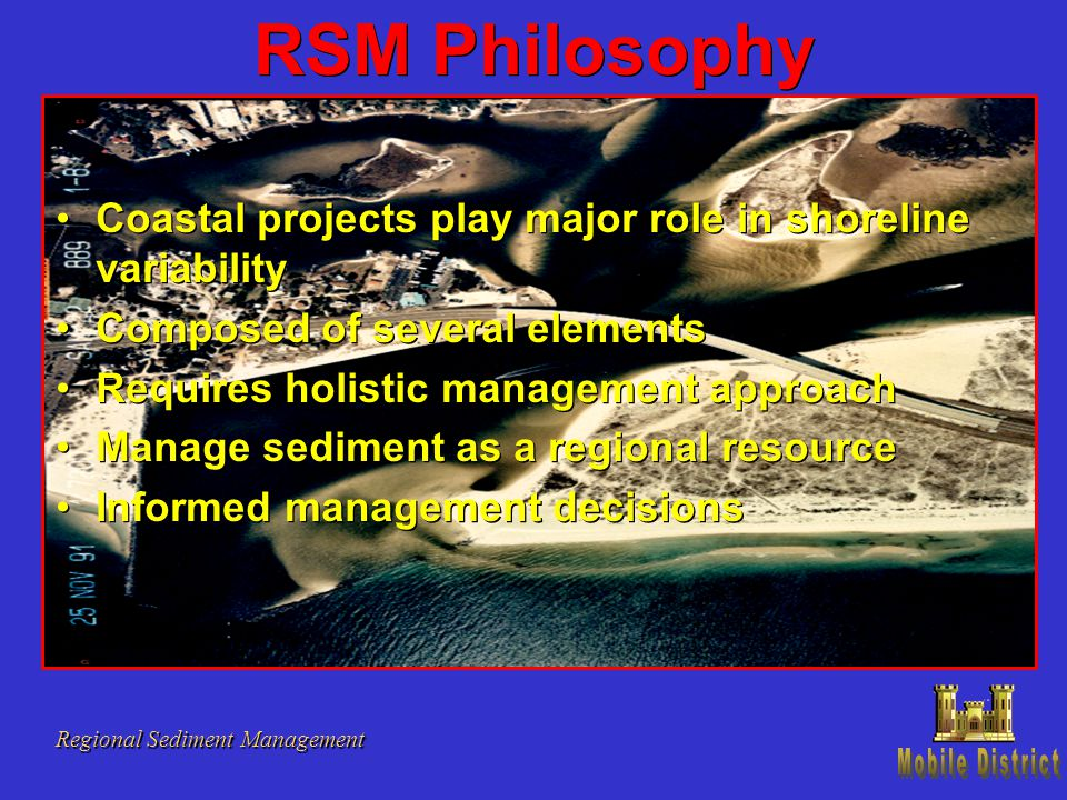 RSM Philosophy Regional Sediment Management Coastal projects play major role in shoreline variability Composed of several elements Requires holistic m