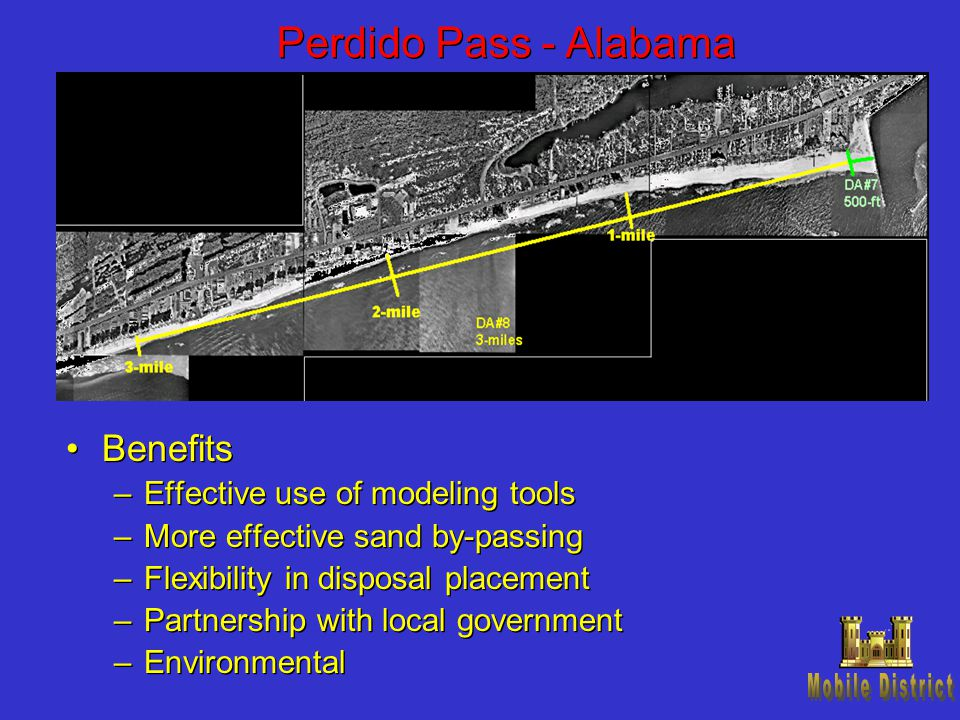 Perdido Pass - Alabama Benefits –Effective use of modeling tools –More effective sand by-passing –Flexibility in disposal placement –Partnership with