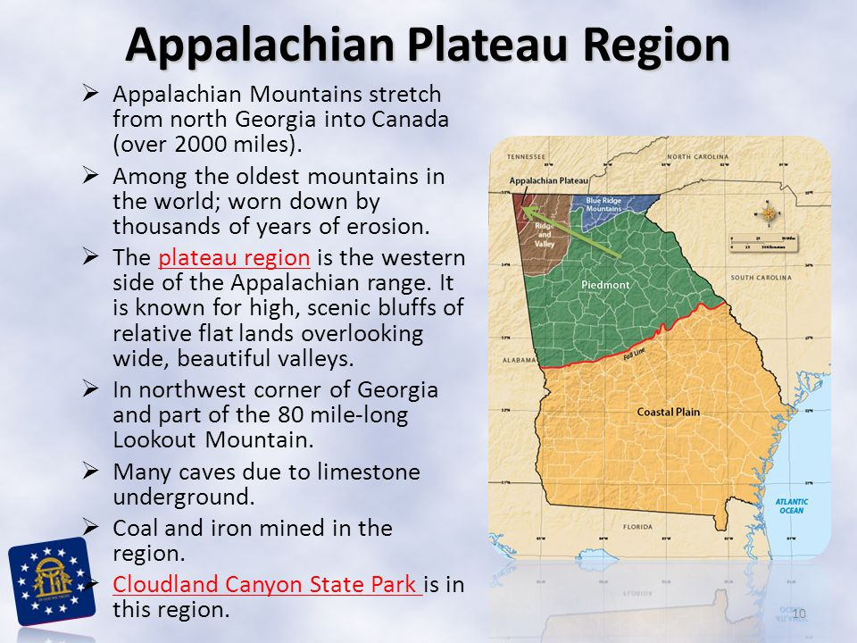  Appalachian Mountains stretch from north Georgia into Canada (over 2000 miles).  Among the oldest mountains in the world; worn down by thousands of