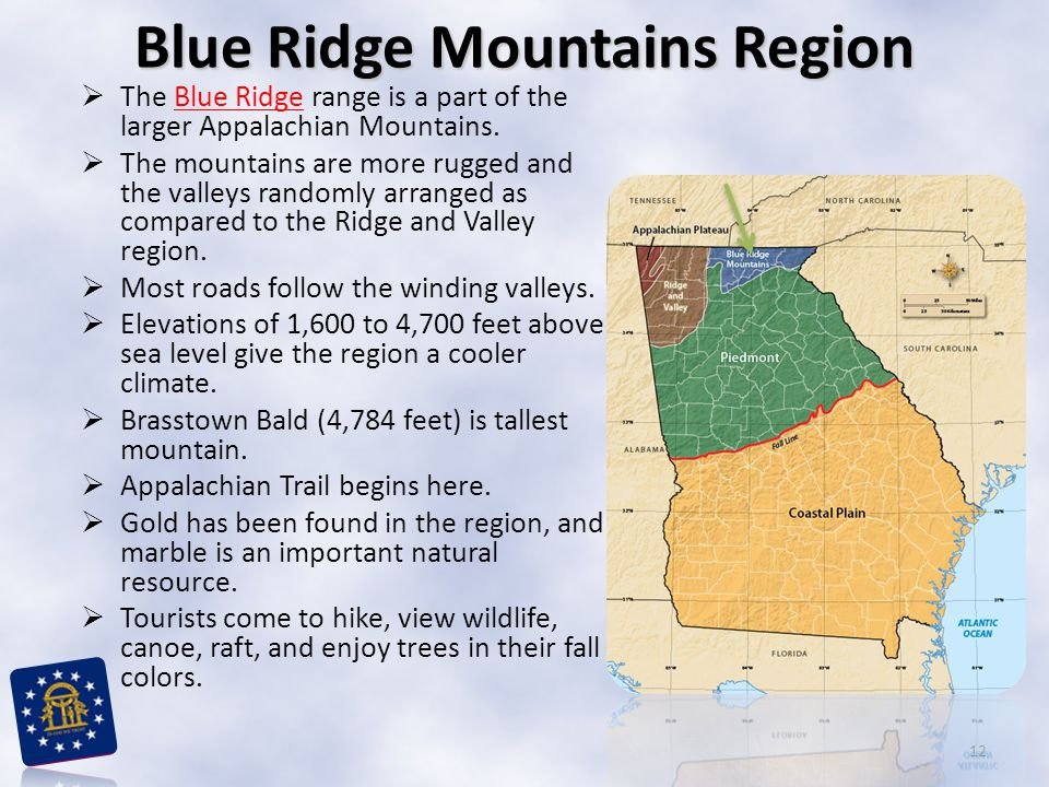  The Blue Ridge range is a part of the larger Appalachian Mountains.Blue Ridge  The mountains are more rugged and the valleys randomly arranged as c