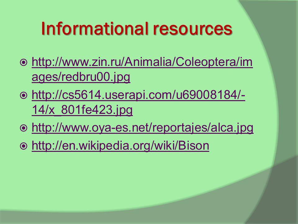 Informational resources  http://www.zin.ru/Animalia/Coleoptera/im ages/redbru00.jpg http://www.zin.ru/Animalia/Coleoptera/im ages/redbru00.jpg  http://cs5614.userapi.com/u69008184/- 14/x_801fe423.jpg http://cs5614.userapi.com/u69008184/- 14/x_801fe423.jpg  http://www.oya-es.net/reportajes/alca.jpg http://www.oya-es.net/reportajes/alca.jpg  http://en.wikipedia.org/wiki/Bison http://en.wikipedia.org/wiki/Bison