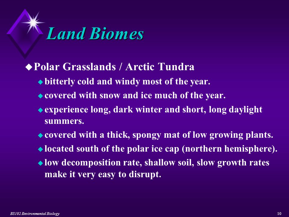BS102 Environmental Biology10 Land Biomes u Polar Grasslands / Arctic Tundra u bitterly cold and windy most of the year. u covered with snow and ice m