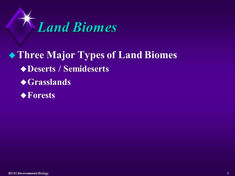 BS102 Environmental Biology4 Land Biomes u Deserts / Semideserts u General Characteristics u plants exhibit a slow rate of growth.