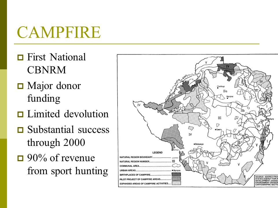 CAMPFIRE  First National CBNRM  Major donor funding  Limited devolution  Substantial success through 2000  90% of revenue from sport hunting