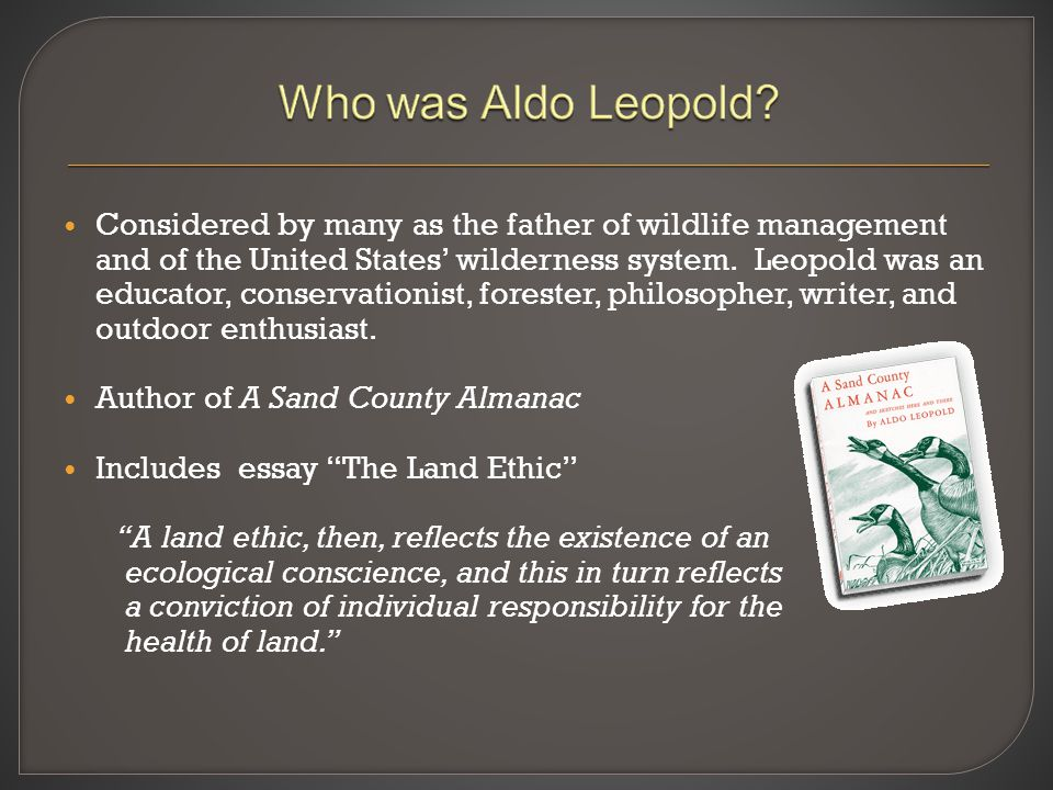 Considered by many as the father of wildlife management and of the United States' wilderness system. Leopold was an educator, conservationist, foreste
